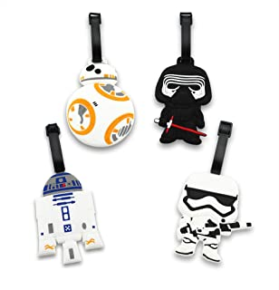 Finex Set of 4 - Star Wars BB-8 Travel Luggage ID Tag Bag Suitcase with Adjustable Strap BB8 Kylo Ren Stormtrooper R2D2