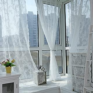 Edal Panel Sheer Voile Window Curtain Panel Drape Room Floral Tulle Scarfs Valances White