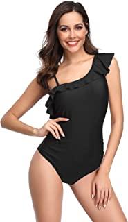 ef9bb91c11957 LALAVAVA One Piece Swimsuit Women Sexy Ruffle Monokini Criss Back V Neck Bathing  Suit