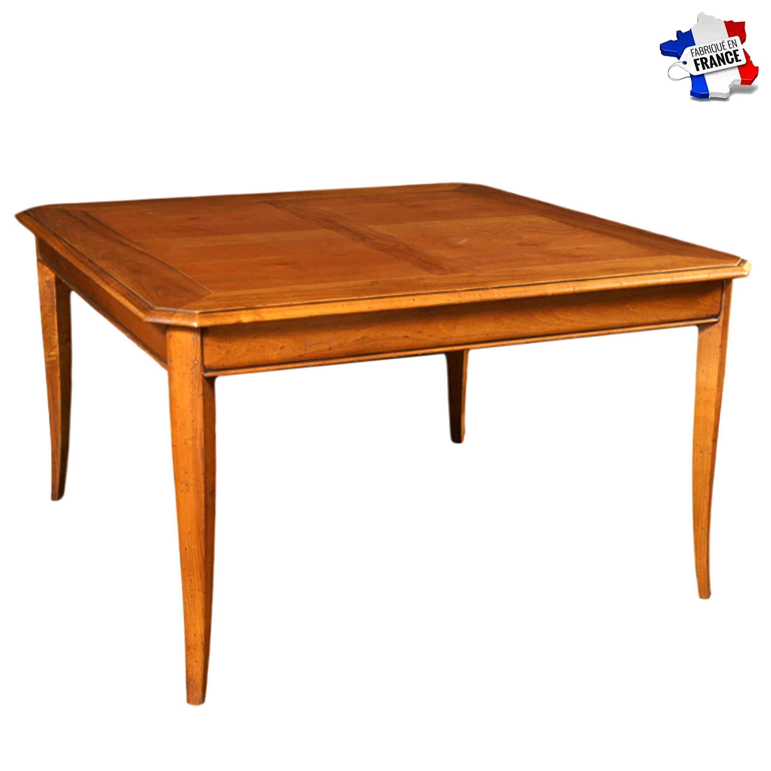 GONTIER - Mesa cuadrada de madera maciza – 100% Made in France: Amazon.es: Hogar