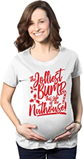 Maternity The Jolliest Bump This Side of The Nuthouse Pregnancy Tshirt Cute Christmas Tee