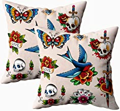 GROOTEY Square Set of 2 Pillow Case with Zippered for Home Sofa Decor 18X18Inch Costom Throw Cover Cushion, Soft Pillow case Set Color Vintage Tattoos Your Decoration