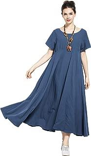 Anysize New Version Soft Linen Cotton Spring Summer Dress Plus Size Dress Y6