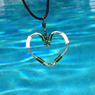 The ORIGINAL FISH HOOK HEART Necklace - Green and White Wire on Silver Hooks