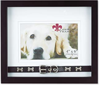 Lawrence Frames Walnut Wood Double Mat 6x4 Picture Frame - Dog Collar Design