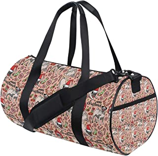 LONSANT Pug Merry Christmas Dogs Celebrating The Holiday Comedy Image Antlers Hats Candy Cones Rose Red Gree Barrel Duffel Bag Sports Yoga Gym Fitness Bag Travel Weekender Bags for Men and Women