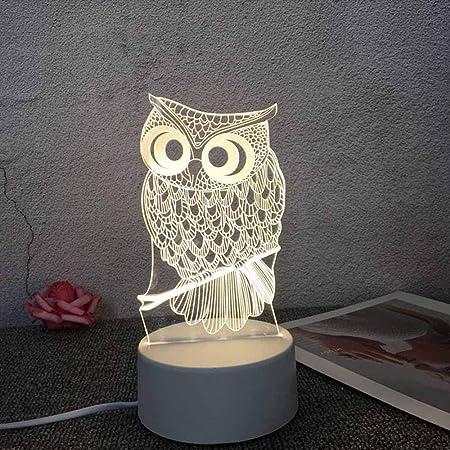 3D LED Illusion Lampe de Chevet Optique Veilleuse Enfants Chouette Nuit Lumière Lumière de Nuit Cadeau de Noël pour Chambre Chevet Table de Bébé Cadeau De Noël Fête Anniversaire