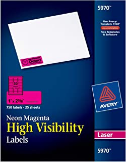 Avery Neon Laser Labels, Rectangle, 1 x 2-5/8, Fluorescent Magenta, 750/Pack (5970)