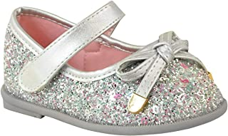 Fashion Thirsty Girls Kids Shoes Childrens Flat Pumps Glitter Party Bow Mary Jane Sandals Size by Heelberry®