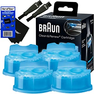 Braun Clean & Renew Refill Cartridges, Replacement Cleaner, Cleaning Solution (4 Pack) for Series 3, Series 5, Series 7 & Series 9 + Double Ended Shaver Brush + HeroFiber Ultra Gentle Cleaning Cloth