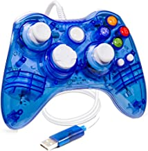 suily Wired Game Controller USB Gamepad Transparent Joystick with LED Lights for Xbox 360 and PC Windows XP/7/8/8.1/10/Vista