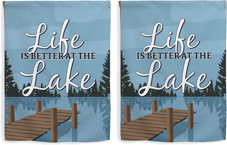 Amazon Com Lake Home Decor Life Is Better At The Lake House Flag Lake Yard Flag Vertical House Flag Multi Garden Outdoor