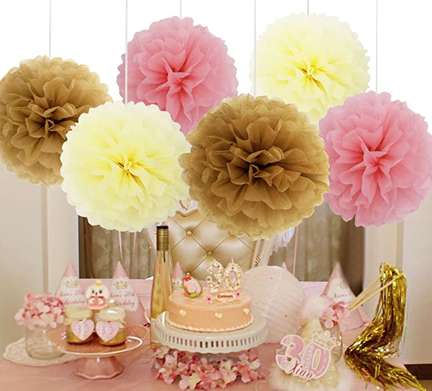 SOOKOO 15 Pieces 10 Inch Assorted Colors Tissue Paper Pom Poms Flower Balls For Birthday Wedding Party Baby Shower Decorations, Pale Pink, Tan, Cream