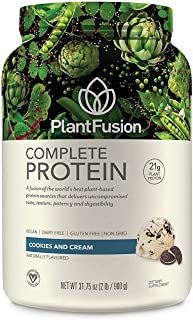 PlantFusion Complete Plant Based Pea Protein Powder, Non-GMO, Vegan, Dairy Free, Gluten Free, Soy Free, Allergy Free w/Digestive Enzymes, Dietary Supplement, Cookies & Crème (30 Servings) 2 Pound
