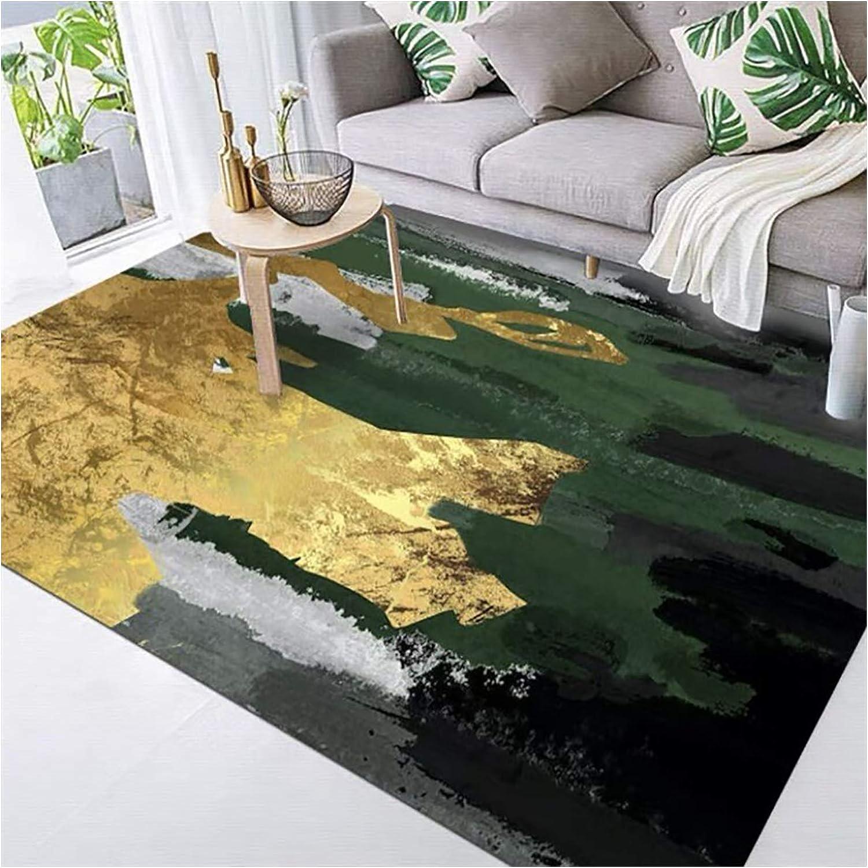 GJCC Quality inspection Modern Stylish Area Rug Gray Gold Emerald Great interest Luxury Green