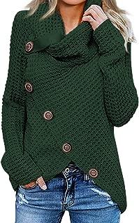 Women's Chunky Button Turtle Cowl Neck Asymmetric Hem Wrap Pullover Sweater