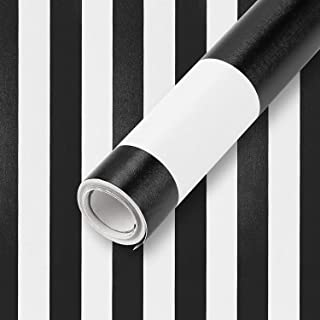 """Wall Paper Stripe Black and White Contact Paper 17.7""""x 118"""" PVC Self-Adhesive Peel and Stick Wallpaper Easy to Clean Wall ..."""
