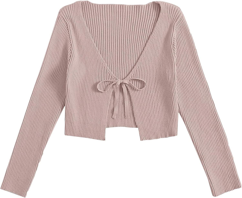 Floerns Women's Tie Front Long Sleeve Crop Top Rib Knit Coat Cardigan