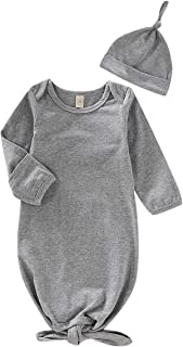 Baby Gown Newborn Cotton Nightgown Long Sleeve Stripe...