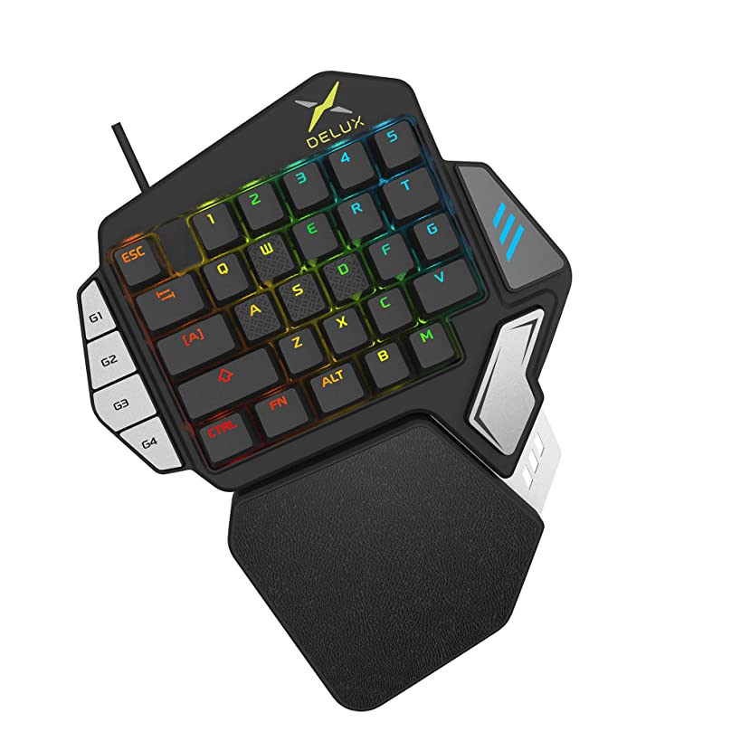 One-Handed Mechanical Gaming Keyboard, EIRIX 33-Key Programmable & Removal Palm Rest Ergonomic RGB Gaming Keypad with USB Wired LED Backlit for Win XP, Win7, Win8, Win10