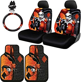 Yupbizauto 8 Pieces DC Comic Harley Quinn Car Seat Covers Floor Mats and Steering Wheel Cover Set with Air Freshener