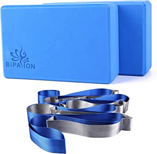 BIPASION Yoga Block (2 Pack) and Yoga Strap Set, High Density EVA Foam Block to Support and Improve Poses and Flexibility