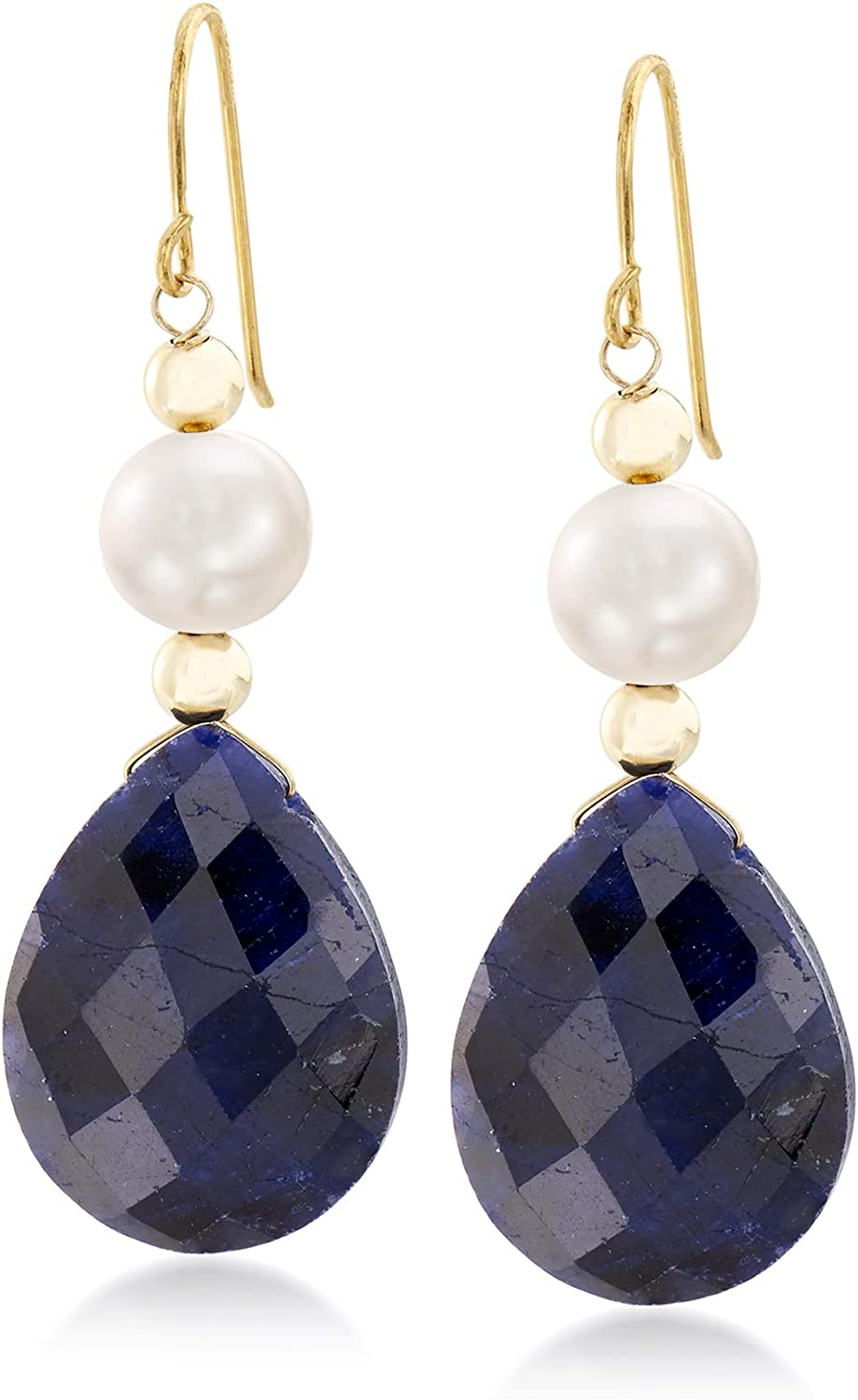 Ross-Simons 20.00 ct. t.w. Sapphire and Cultured Pearl Earrings in 14kt Yellow Gold