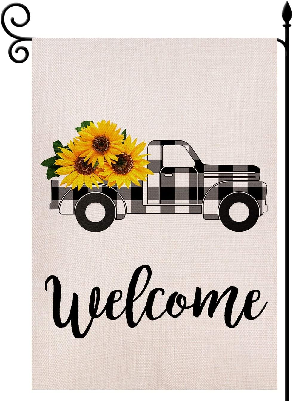 Lovegarden Welcome Sunflower Truck Garden Flag Vertical Double Sided 12 5 X 18 Inch Black And White Buffalo Check Plaid Rustic Truck Farmhouse Burlap For Spring Summer Outdoor Indoor Decoration