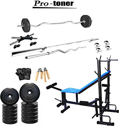 Rjkart Generic PVC Ekatra Fitness Home Gym Combo with 8 in 1 Multipurpose Adjustable Bench 4 Rods and Accessories, 20kg