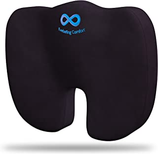 Everlasting Comfort Memory Foam Seat Cushion Designed for Hip and Tailbone Pain - Office Chair Cushions & Car Seat Cushion - Coccyx Cushion - Sciatica & Back Pain Relief