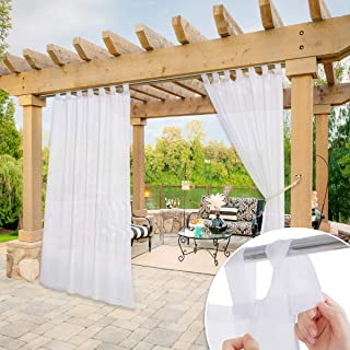 NICETOWN White Outdoor Sheer Curtain for Patio Waterproof, Detachable Sticky Tab Top Elegant Sheer Outdoor Curtain for Porch with Rope Tieback, 1 Panel, 54 Inch by 84 Inch, White