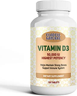 Oladole Natural Vitamin D3 50,000 IU for Healthy Muscle Function, Bone Health, and Immune Support Non-GMO
