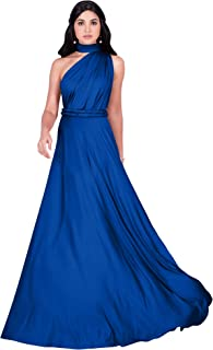Womens Long Bridesmaid One Shoulder Convertible Wrap Cocktail Maxi Dress