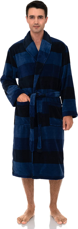 TowelSelections lowest price Men's Fleece Robe Plush Spa Shawl Bathro Collar Excellent