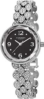 Akribos XXIV AK839 Swarovski Crystal Studded Women's Watch – Link Bracelet Strap and Small Round Polished Alloy Case Crystal Accents