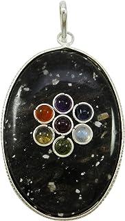 Harmonize la Tourmaline Ovale 7 Chakra Pendentif spirituelle Reiki Cristal médaillon de guérison