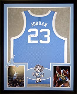 Michael Jordan North Carolina Tar Heels Autograph Signed Custom Framed Jersey Blue UDA Upper Deck Authenticated