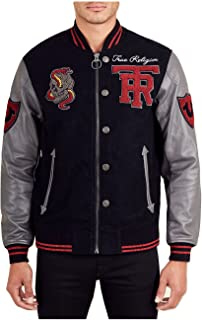 Collegiate Logo Patch Varsity Leather Jacket - MSQAR4TF4