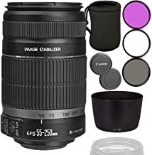 Canon EF-S 55-250mm f/4-5.6 is II Lens with ET-60 Replacement Bayonet Lens Hood Bundle with Lens Filters & Lens Pouch (Whi...