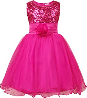 b40d43841e02 JerrisApparel Little Girls' Sequin Mesh Flower Ball Gown Party Dress Tulle  Prom