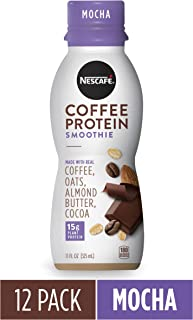 NESCAFÉ Coffee Protein Smoothie, Mocha, 11 FL OZ, 12 Bottles | Plant-Based Protein | Non-Dairy | Arabica Coffee