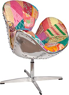 lazyBuddy Hand Hammered Aviator Aluminum Mid Century Modern Classic Arne Jacobsen Style Swan Replica Chair With Premium Vintage Kantha Handmade Stitched Fabric and Stainless Steel Frame