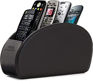 Londo - Leather Remote Control Holder Organizer with Suede Lining for DVD Blu-ray TV Roku or Apple TV Remotes (Leather, Black)