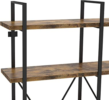 IRONCK Industrial Bookshelf and Bookcase Double Wide 5 Tier,Book Cases Wood and Metal Bookshelves for Home Office, Easy Assem