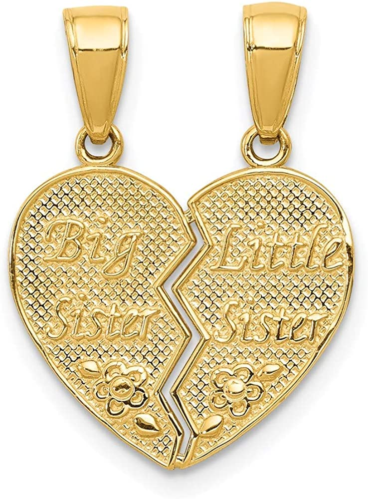 14k Yellow Gold Big Sister Little Break Apart Pendant Charm Necklace Fine Jewelry For Women Gifts For Her