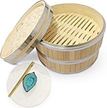 10 INCH BAMBOO STEAMER SET - FLAVOURSOME 2 TIER BUN BAMBOO STEAMER [ LINERS CHOPSTICKS DIP BOWL ] WITH STAINLESS STEEL BAN...