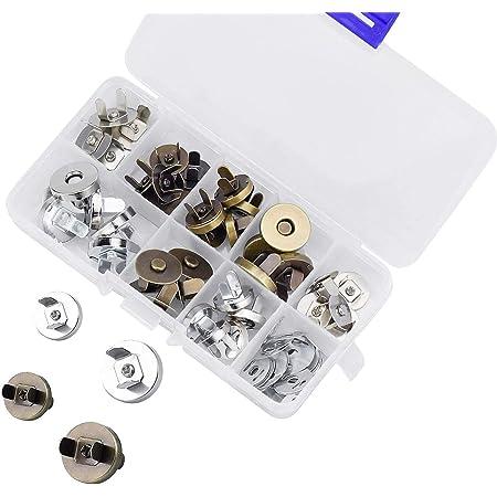 DESON Bottoni Magnetici per Borse, 20 Set 14mm e 18mm Snap Magnetico Metallico per Fai da Te Artigianale Cucito Fermaglio per Artigianato Borse e Abiti in Pelle
