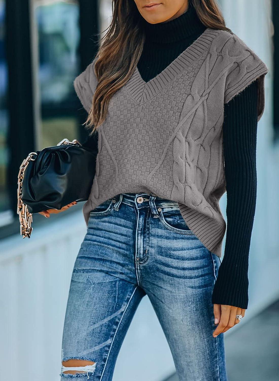 Dokotoo Sweater Vest Women Knitted V Neck Oversized Sweaters Sleeveless Knitwear Tank Tops