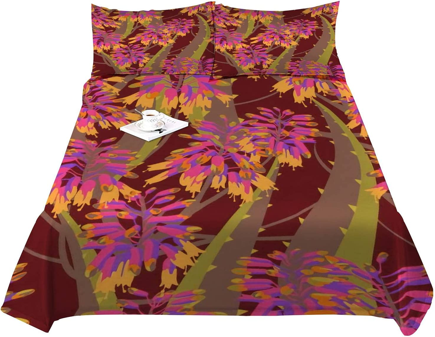 Cooling Cheap mail order shopping Sheets Set Floral Illustration Luxury Composition Bambo