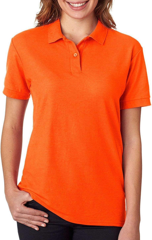 Gildan - Ladies DryBlend Double Pique Polo Shirt - 72800L-Safety Orange-2XL